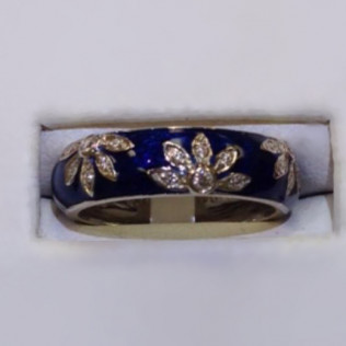 Hidalgo ring, blue enameling with diamonds, Bossier City and Shreveport, LA