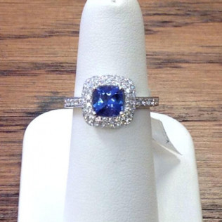 Tanzanite ring, Double row pavé bubble halo, Bossier City and Shreveport, LA